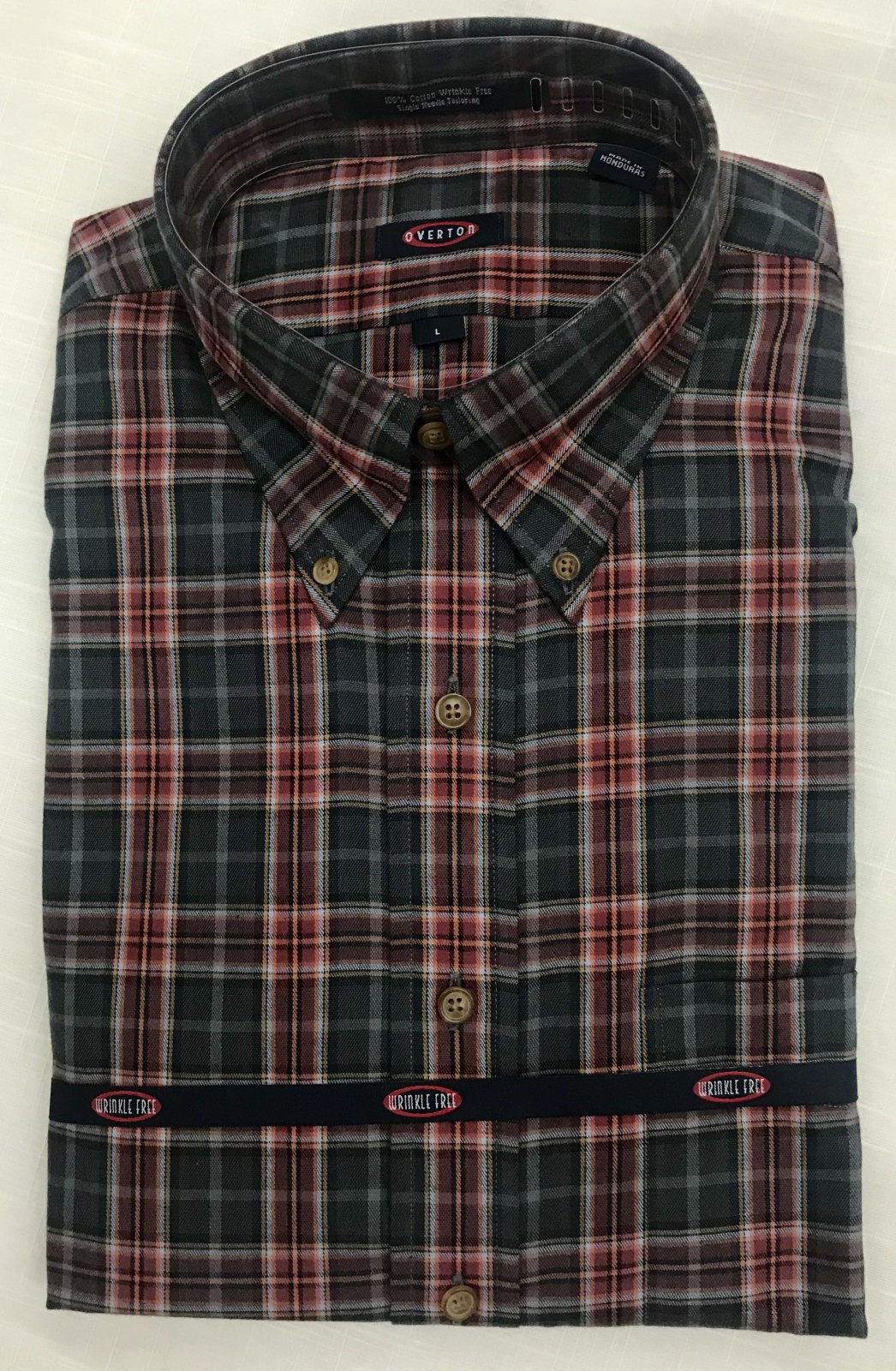 Overton Brick Brushed Plaid LS Sportshirt