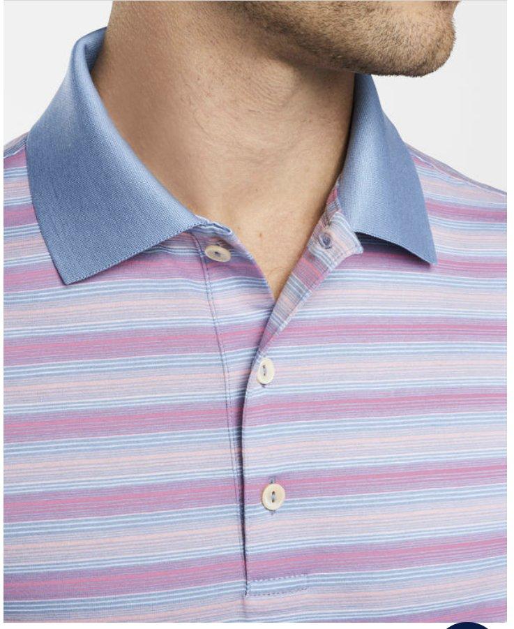 Peter Millar Warsaw Stripe Cotton Lisle S/S Polo