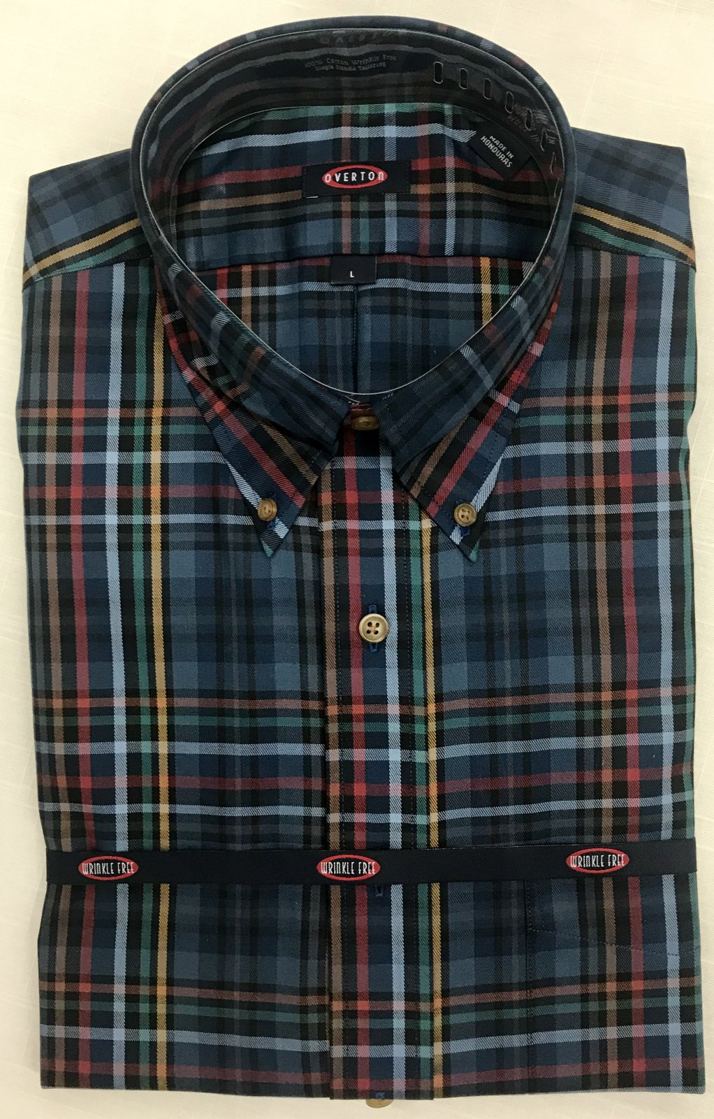Overton Blue Plaid LS Sportshirt