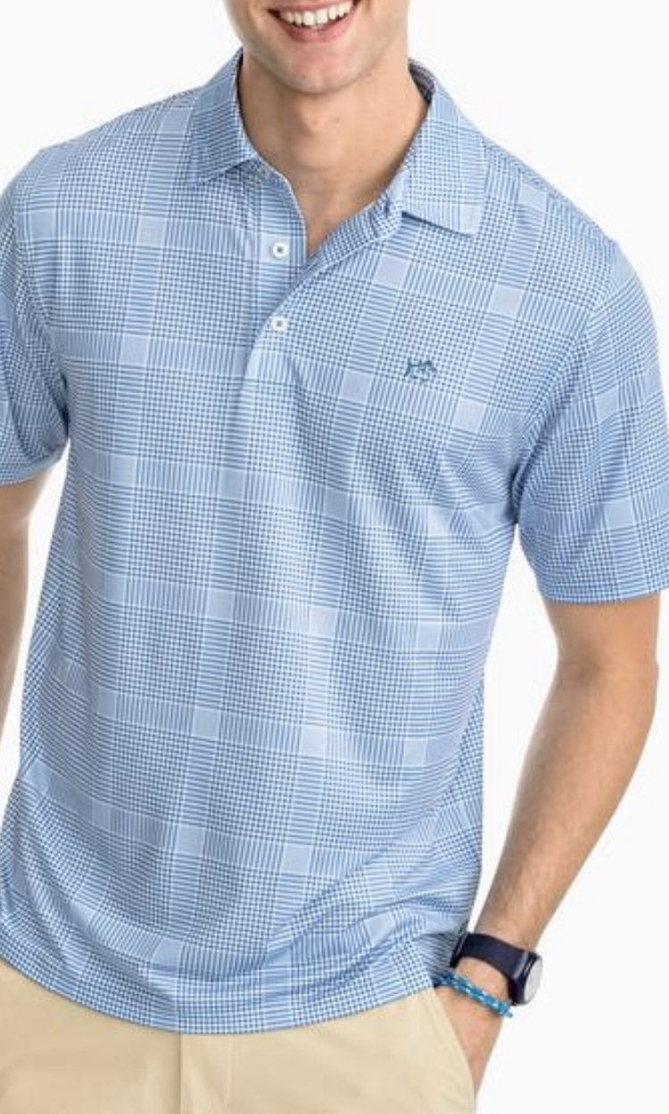 Southern Tide SS Marsh Plaid Performance Polo 4760