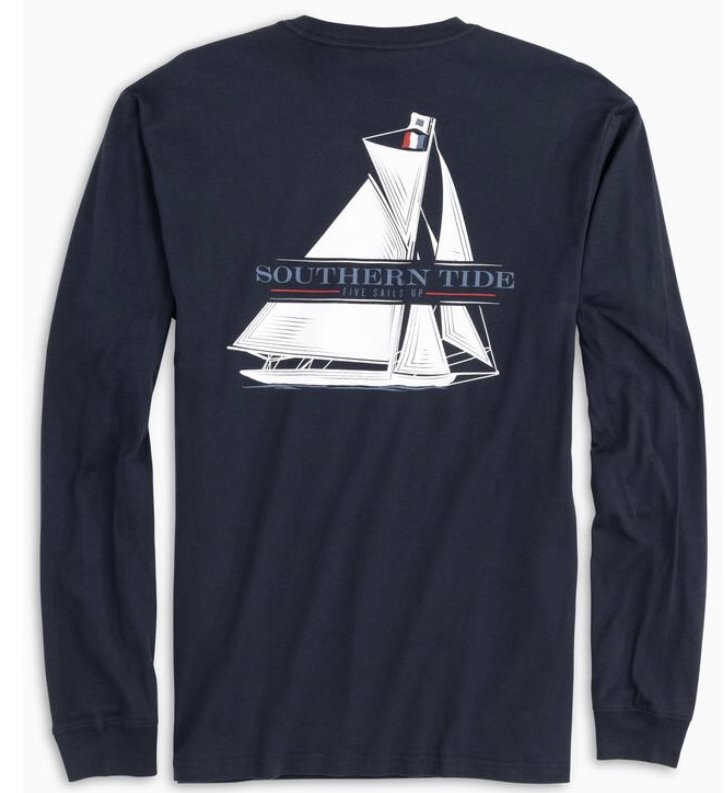Southern Tide LS Five Sails Up Tee 5481