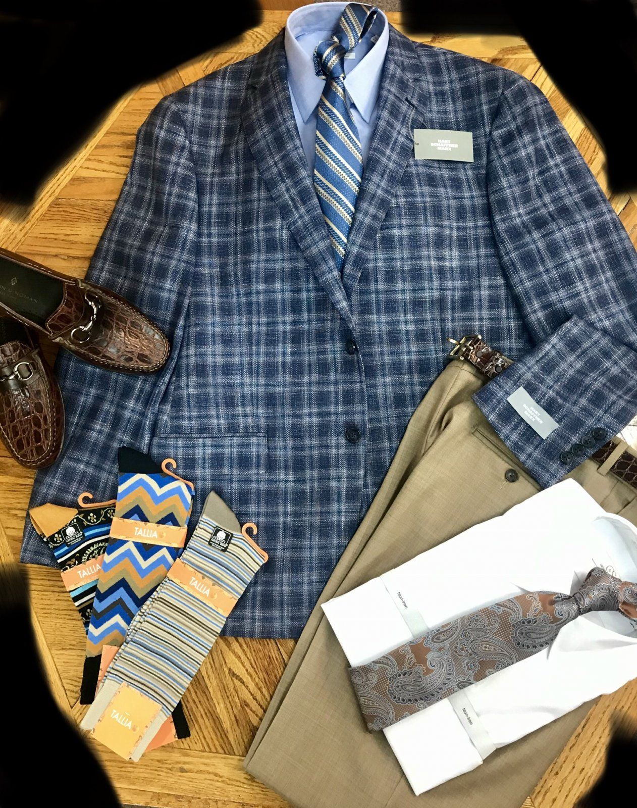 Hart Schaffner Marx Blue/Tan Plaid Sportcoat 428115