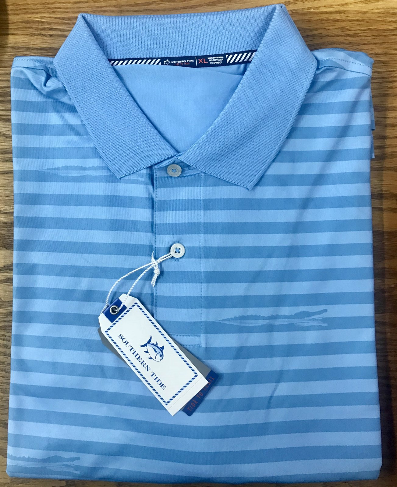 Southern Tide Gator Stripe Performance  S/S Polo