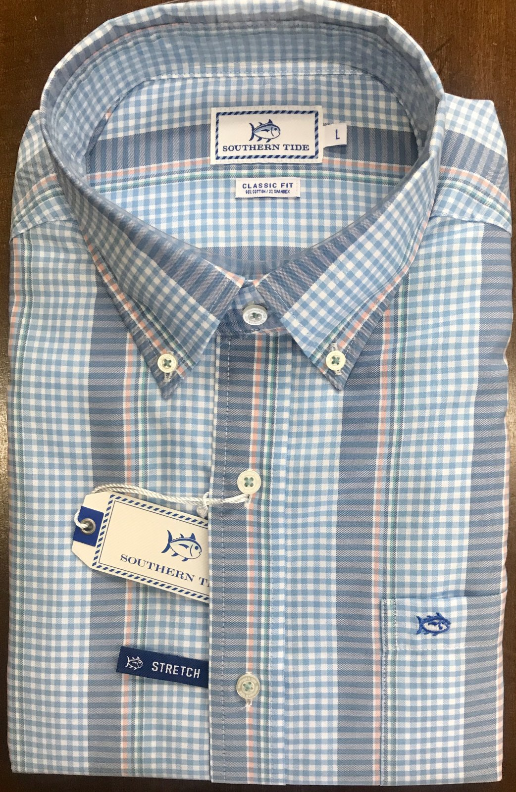 Southern Tide Getaway Striped Gingham Sportshirt
