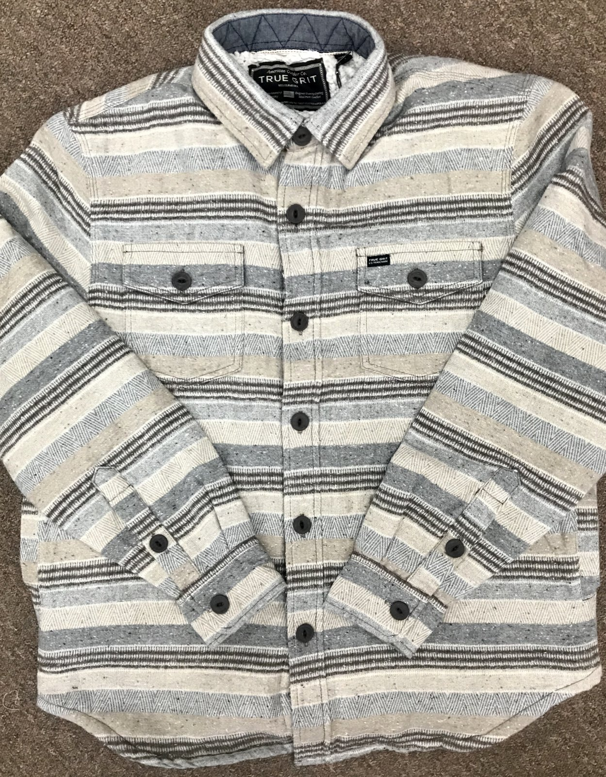 True Grit Textured Stripe Shirt Jacket