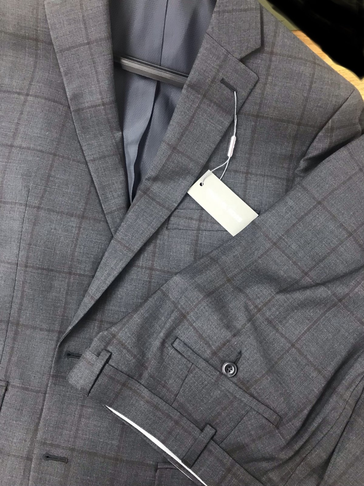 Michael Kors Charcoal/Brown Windowpane Suit