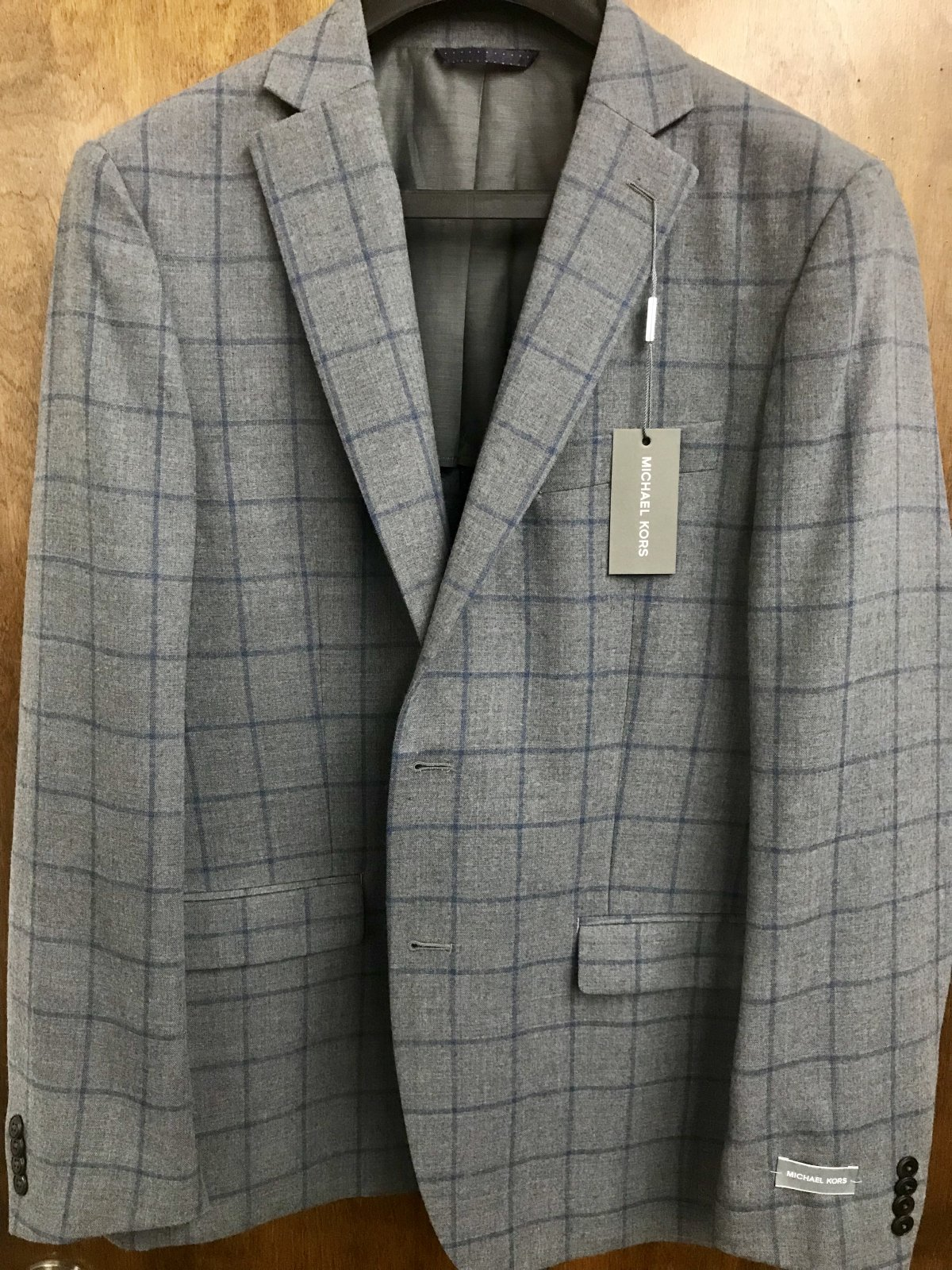Michael Kors Grey/Blue Windowpane Sportcoat KNZ1181