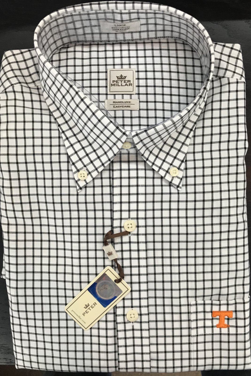 Peter Millar Tattersall LS Shirt/UT Pocket Monogram