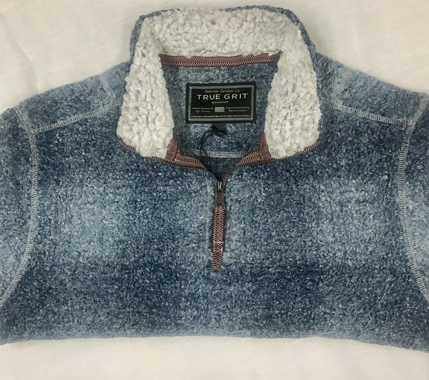 True Grit Melange Shadow Plaid 1/4 Zip Pullover