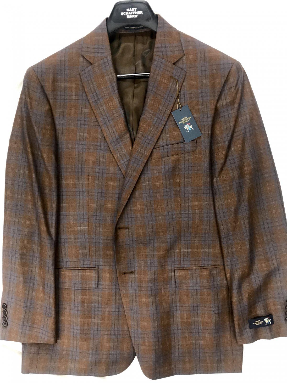 Hart Schaffner Marx Rust/Blue Plaid Sportcoat