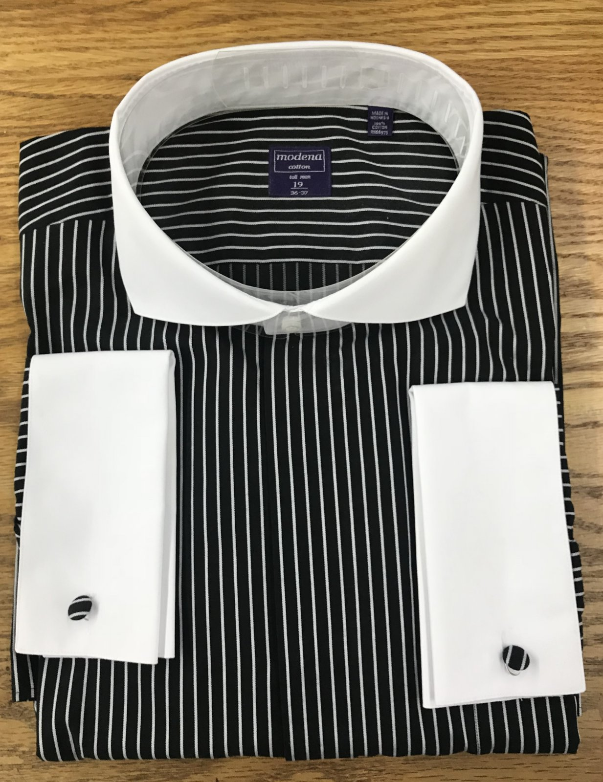 Modena Black/White French Cuff Shirt