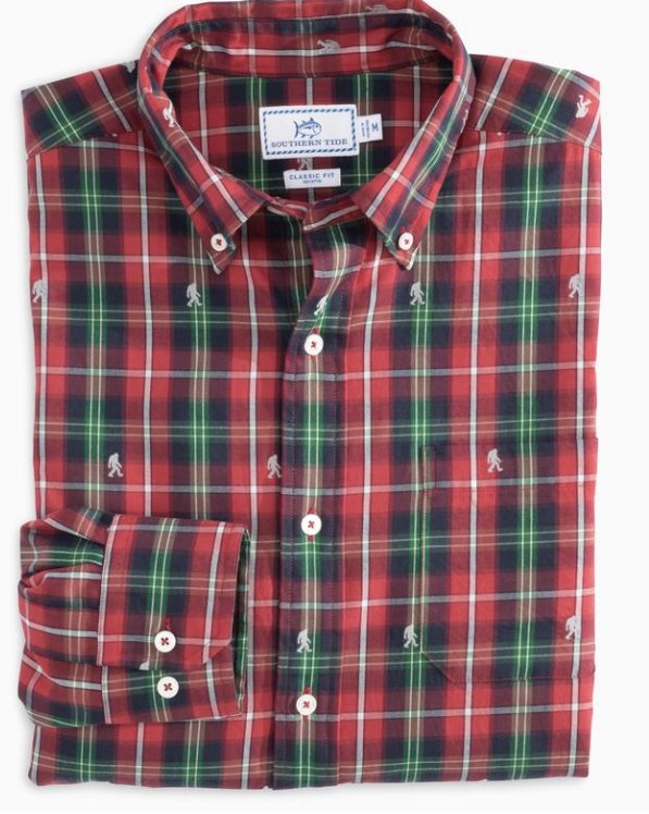Southern Tide LS Christmastide Clip Sportshirt