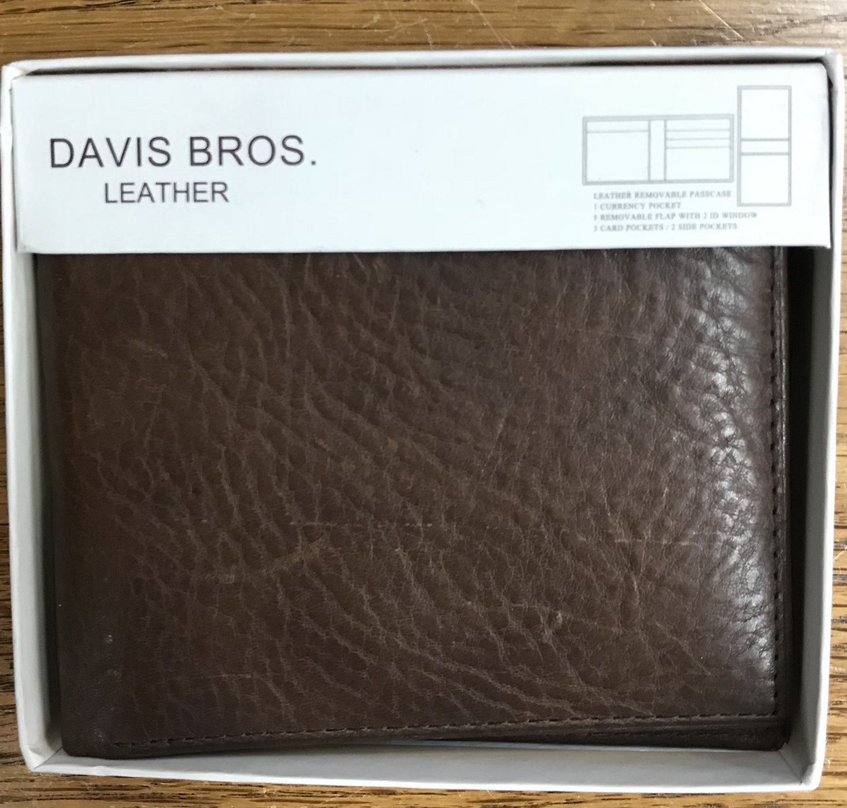 Davis Bros. Brn Pebble Grain Wallet