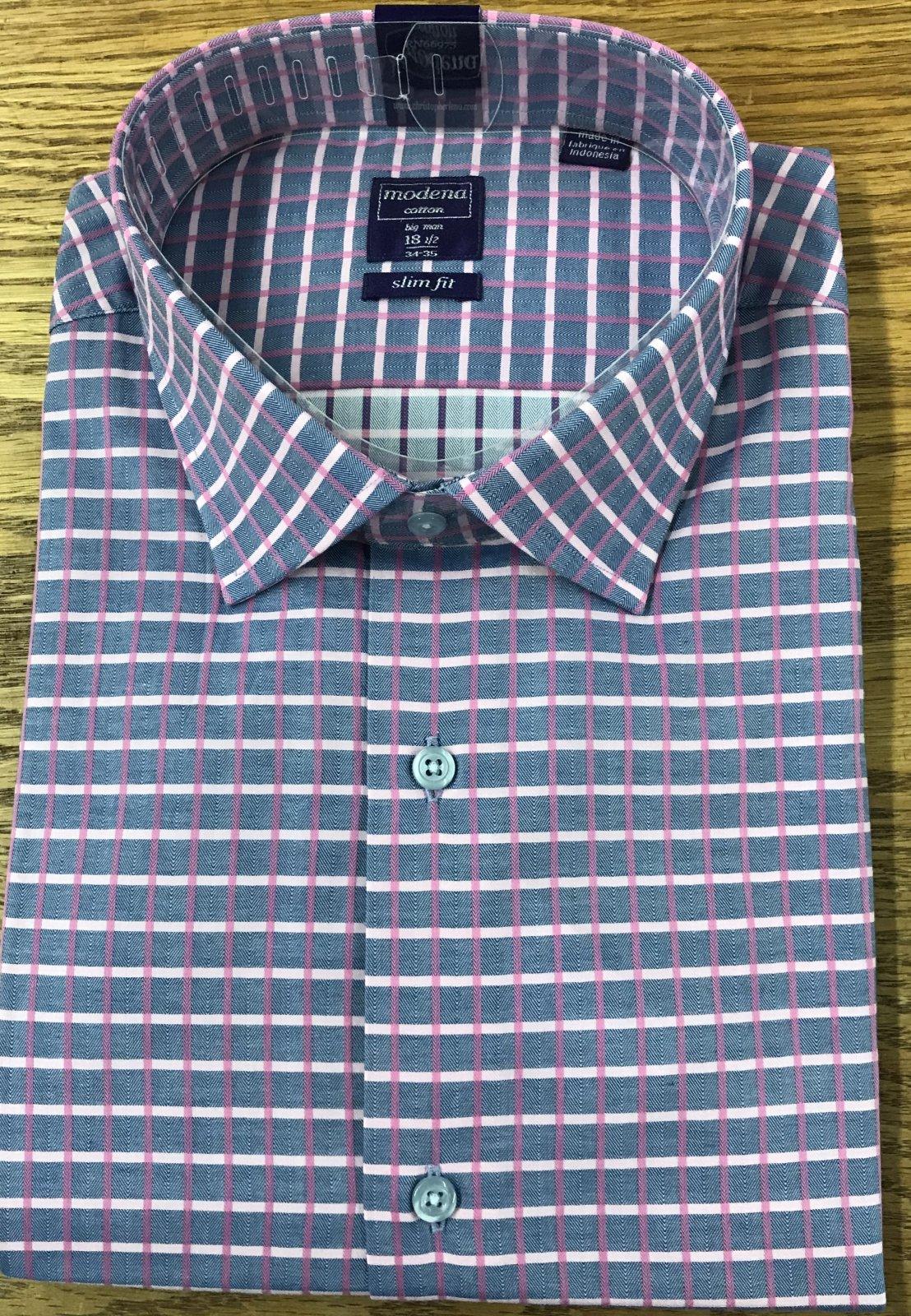 Modena Slim Fit Pink/Blue Herringbone Check