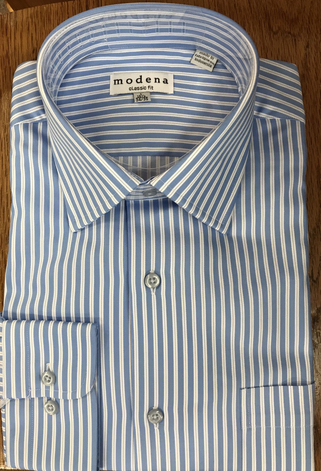 Modena Classic Fit Blue/White Stripe