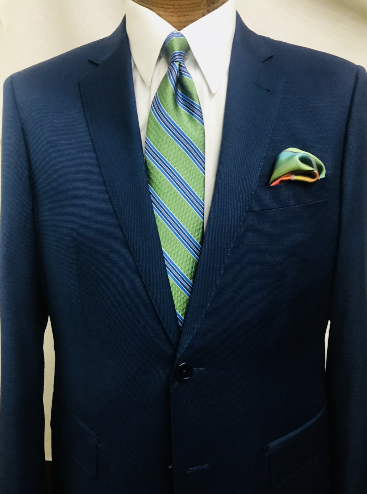 Prive Blue Pin Dot Suit