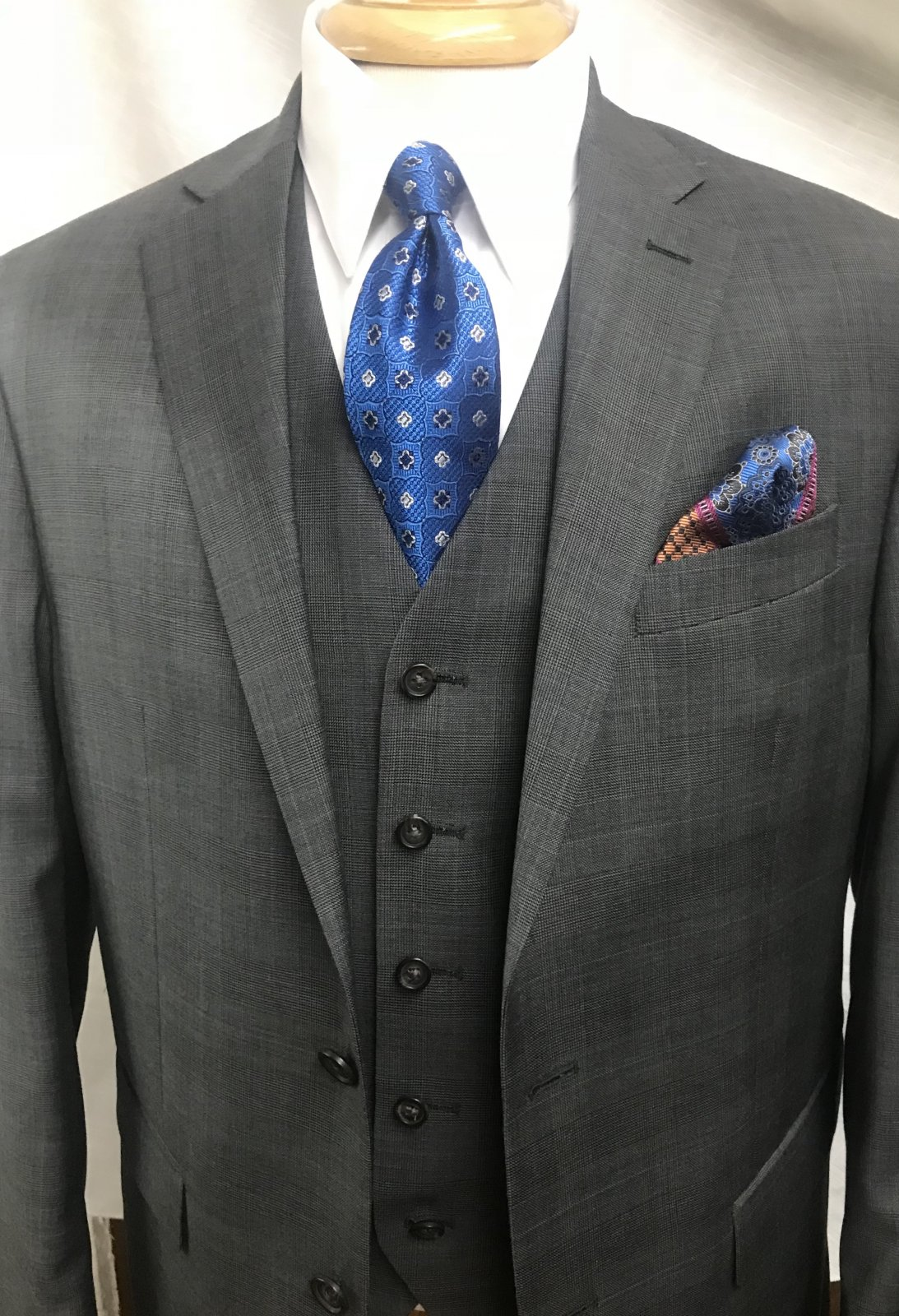 Lauren  Gray Glen Plaid Vested Suit