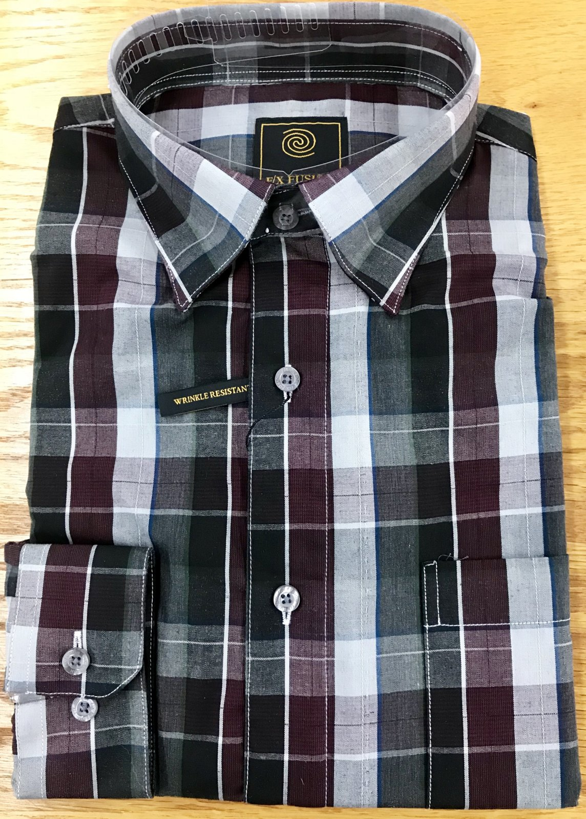 FX Fusion Burgundy Overplaid LS Shirt