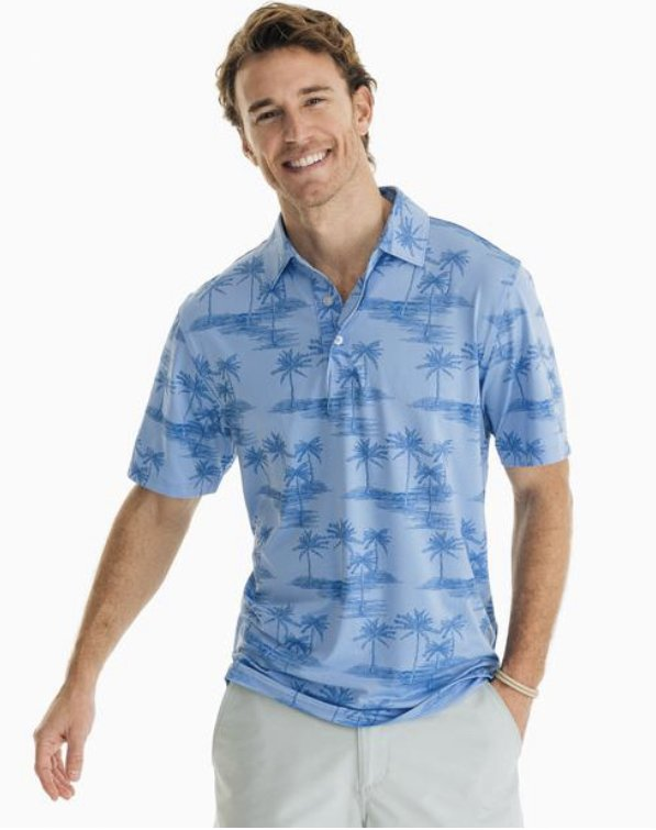 Southern Tide SS Driver Palm Print Perf. Polo 6118