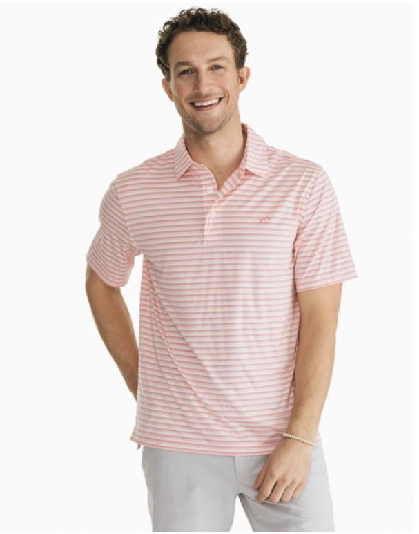Southern Tide SS Brrr Heather Driver Stripe Polo 6134