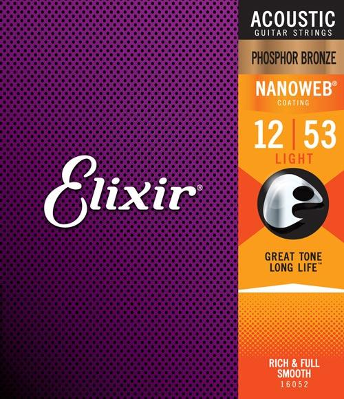Elixir Strings Nanoweb Phosphor Bronze Acoustic Guitar Strings .012-.053 Light