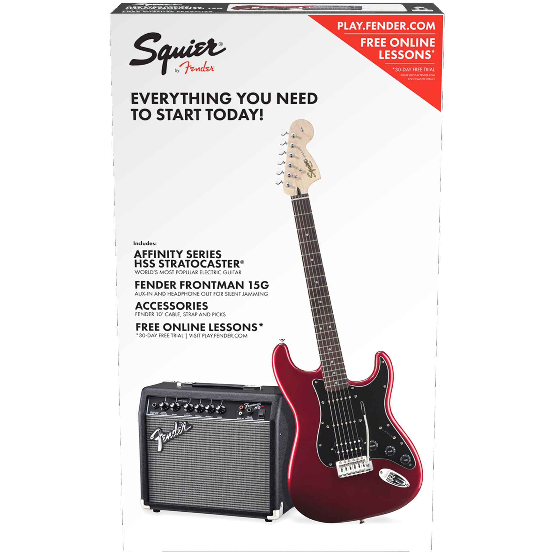 Squier Affinity Series Stratocaster HSS with Fender Frontman 15G Amp