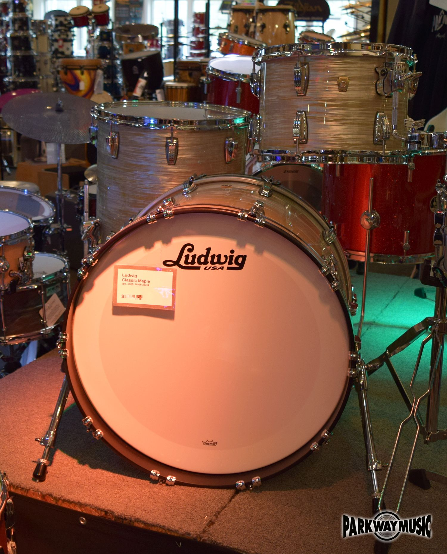 Ludwig Classic Maple FAB 3 Pc shell pack in Olive Oyster