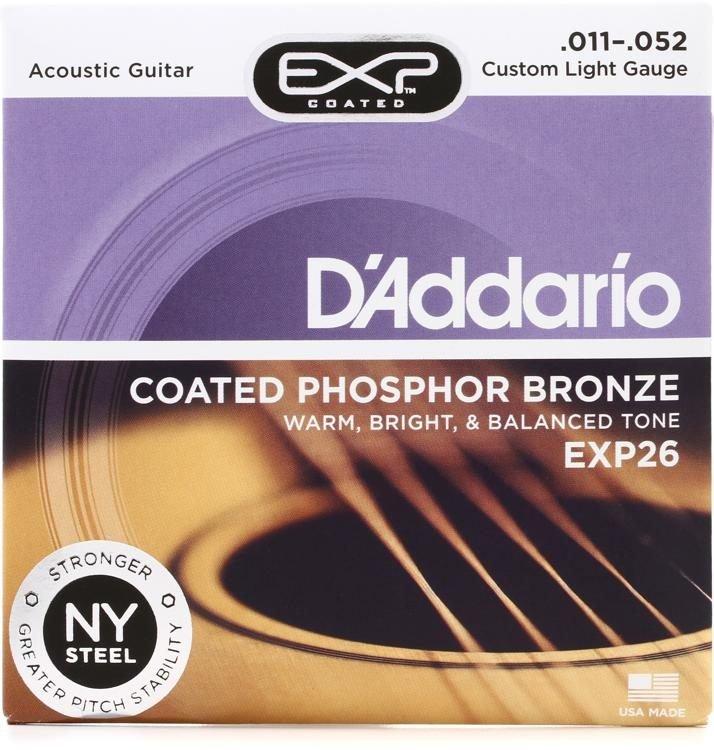 D'Addario EXP26 Coated Phosphor Bronze Acoustic Guitar Strings Custom Light 11-52