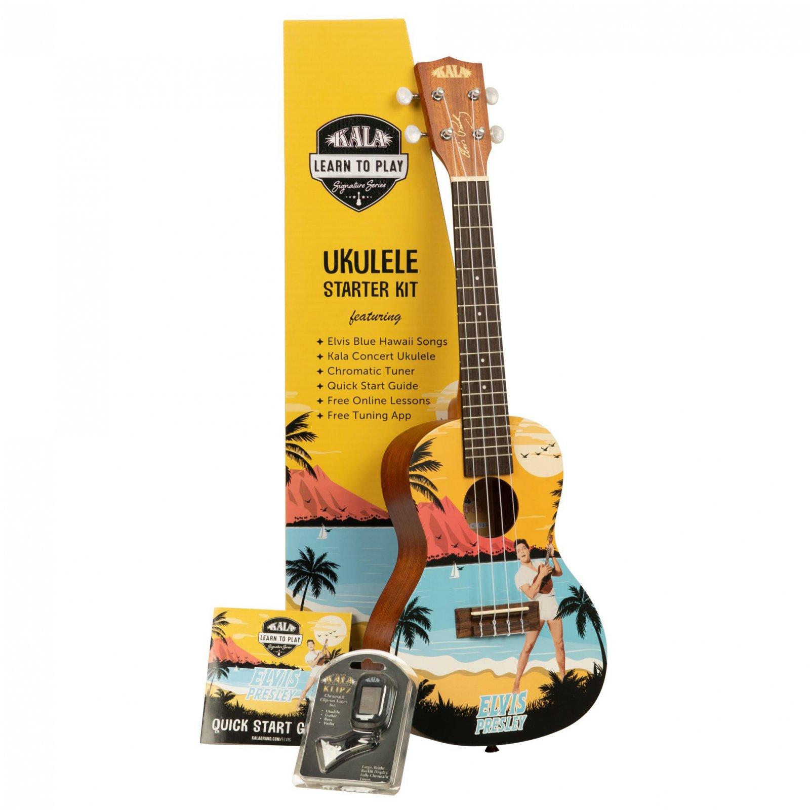 Kala Learn To Play Elvis Blue Hawaii Concert Ukulele Starter Kit