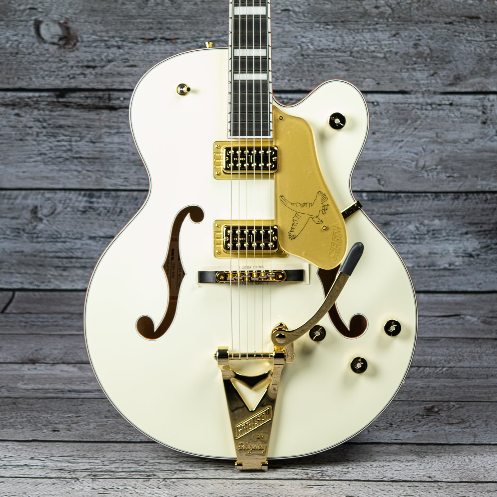Gretsch G6136T-MGC Michael Guy Chislett Signature Falcon with Bigsby - Ebony Fingerboard, Vintage White (Serial: JT20114299)