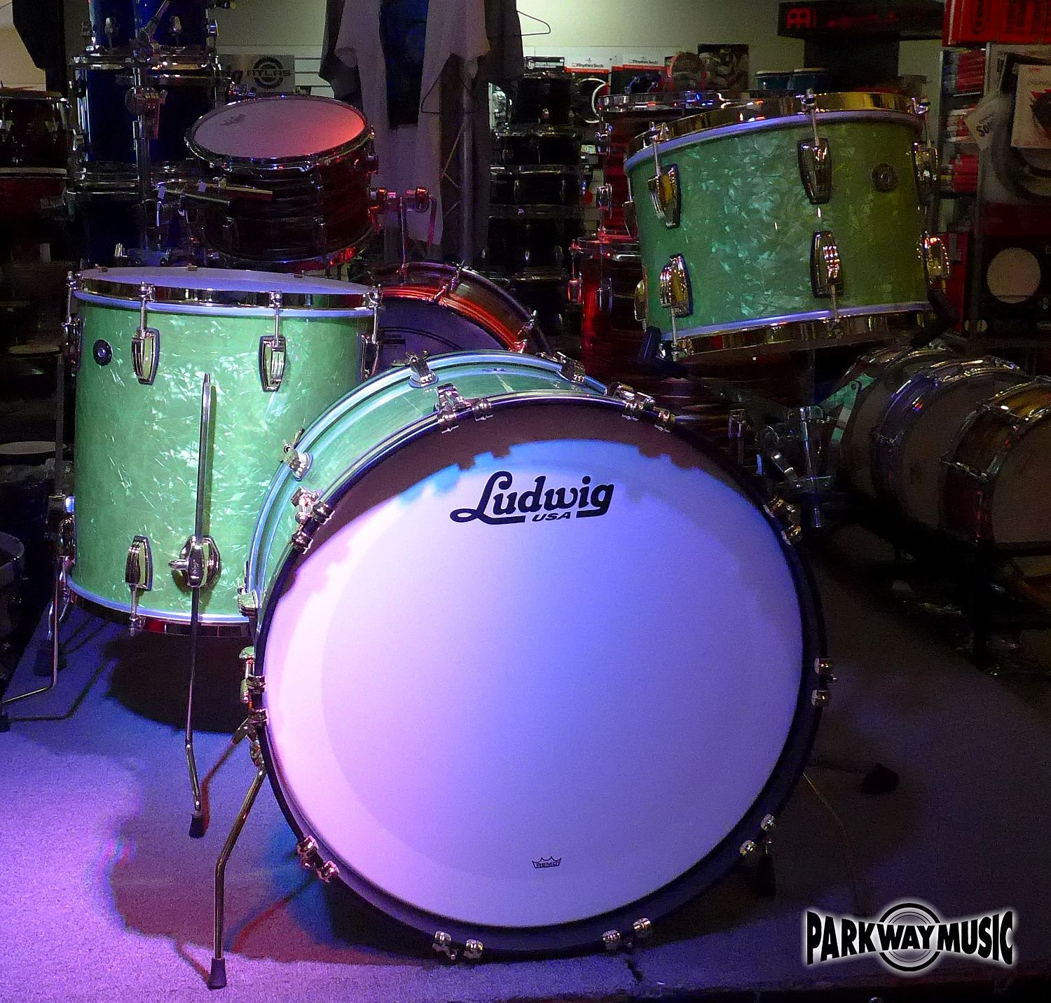 Ludwig Classic Maple Fab Vintage Emerald Pearl 3 PC Shell Pack