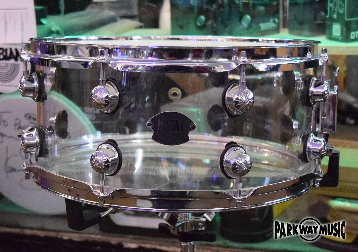 Natal Arcadia Acrylic 6.5x14  Snare Drum Used- SOLD