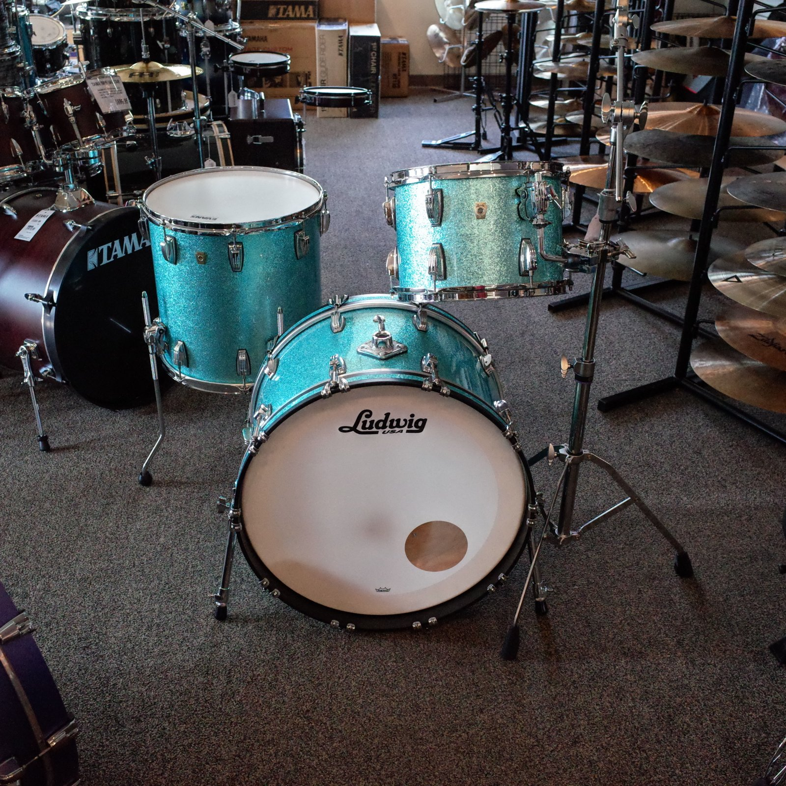 Ludwig 3 Piece Classic Maple Fab - Turquoise Glitter (USED)