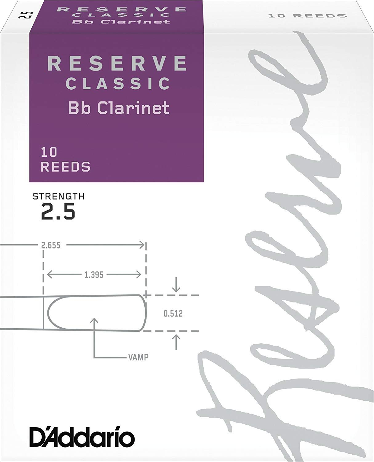 D'Addario Reserve Classic Bb Clarinet Reeds #2.5 , Box of 10