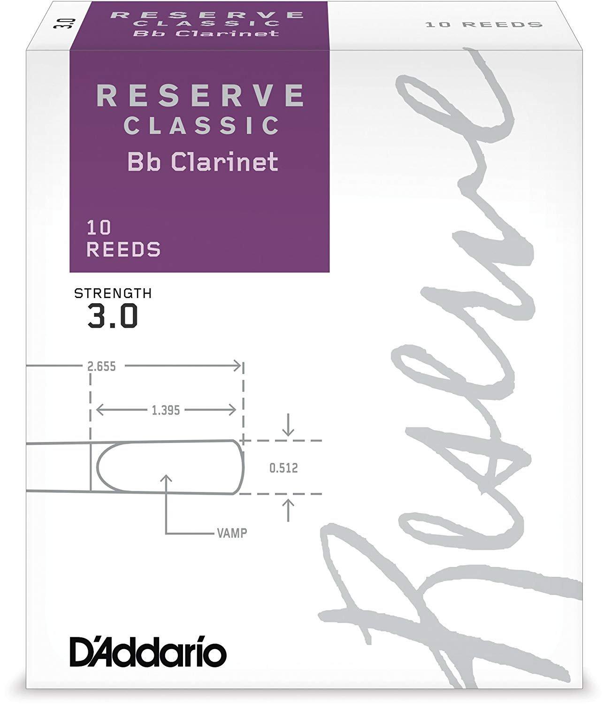 D'Addario Reserve Classic Bb Clarinet Reeds #3, Box of 10