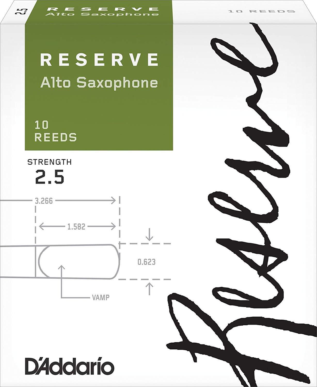 D'Addario Reserve Eb Alto Saxophone Reeds #2.5 , Box of 10