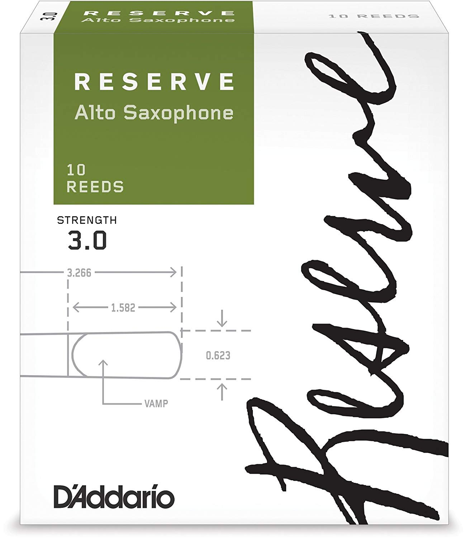 D'Addario Reserve Eb Alto Saxophone Reeds #3, Box of 10