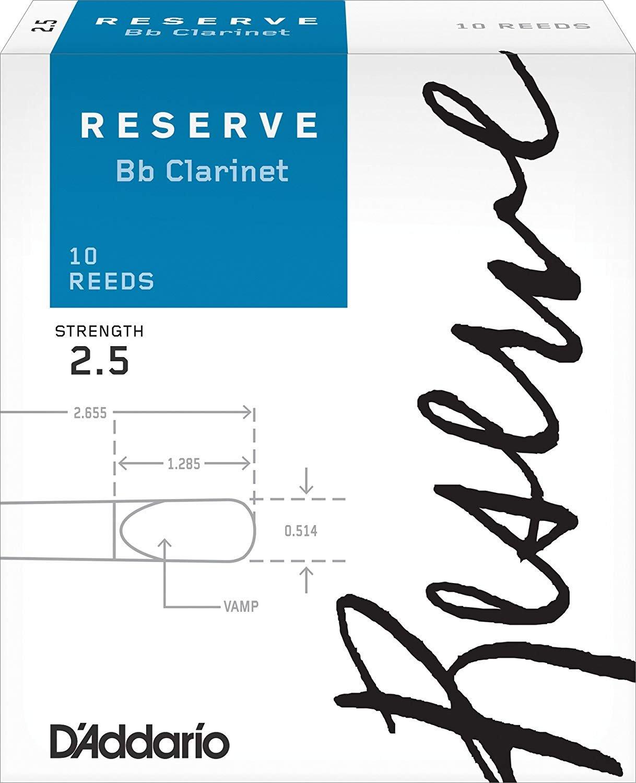 D'Addario Reserve Bb Clarinet Reeds #2.5, Box of 10