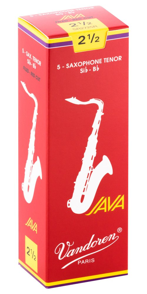 Vandoren Java Red Bb Tenor Saxophone Reeds, #2.5, Box of 5