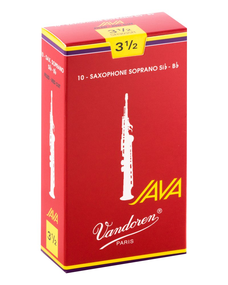 Vandoren Java Red Bb Soprano Saxophone Reeds #3.5, Box of 10