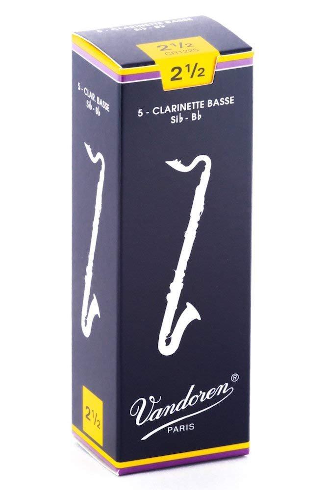 Vandoren Traditional Bb Bass Clarinet Reeds #2.5, Box of 5