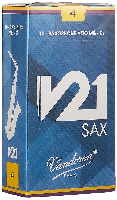 Vandoren V21 Eb Alto Saxophone Reeds #4, Box of 10