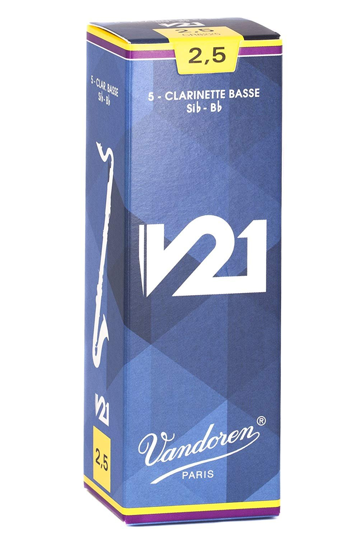 Vandoren V21 Bb Bass Clarinet Reeds #2.5, Box of 5