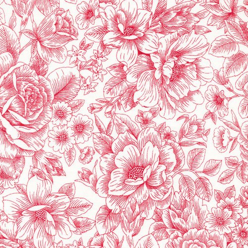 Opposites Red Floral on Wht