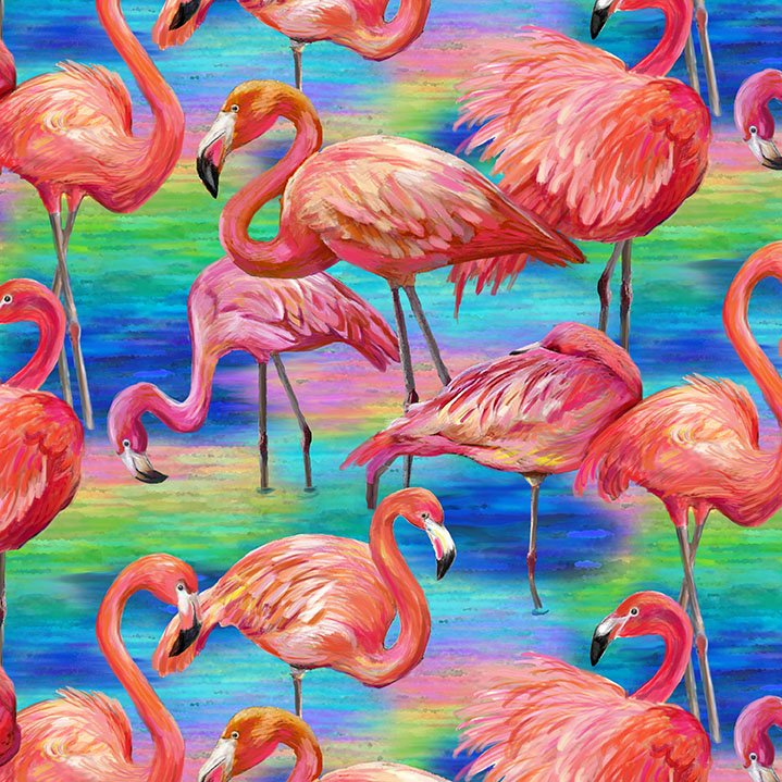 Flamingo Large Allover Blue