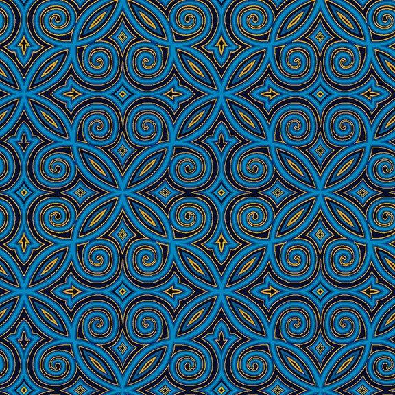 Silent Night Metallic Arabesque Blue