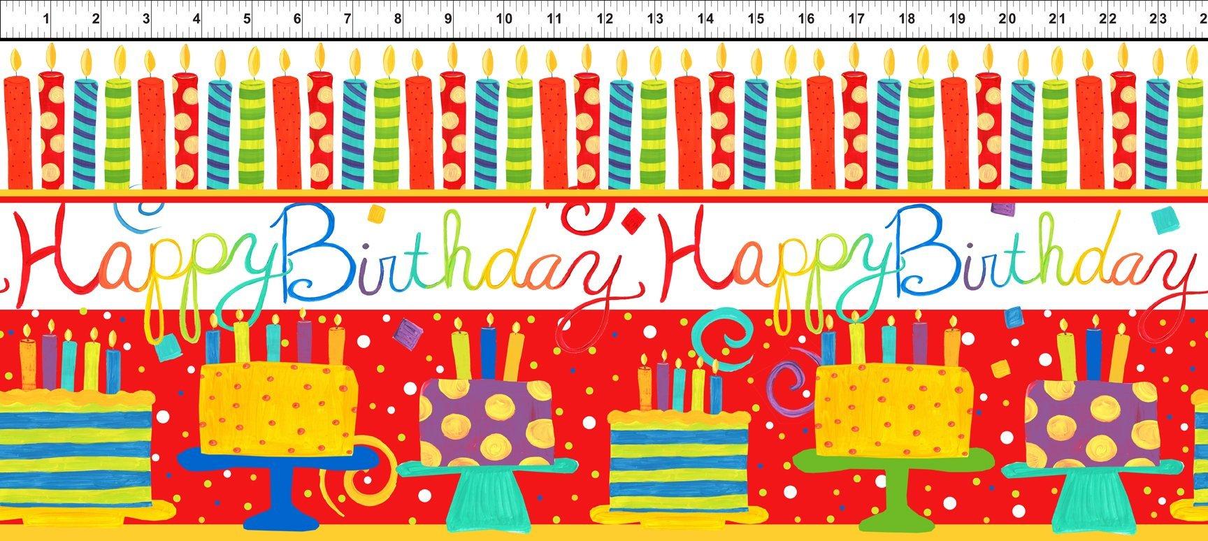 Happy Birthday Border Stripe Red