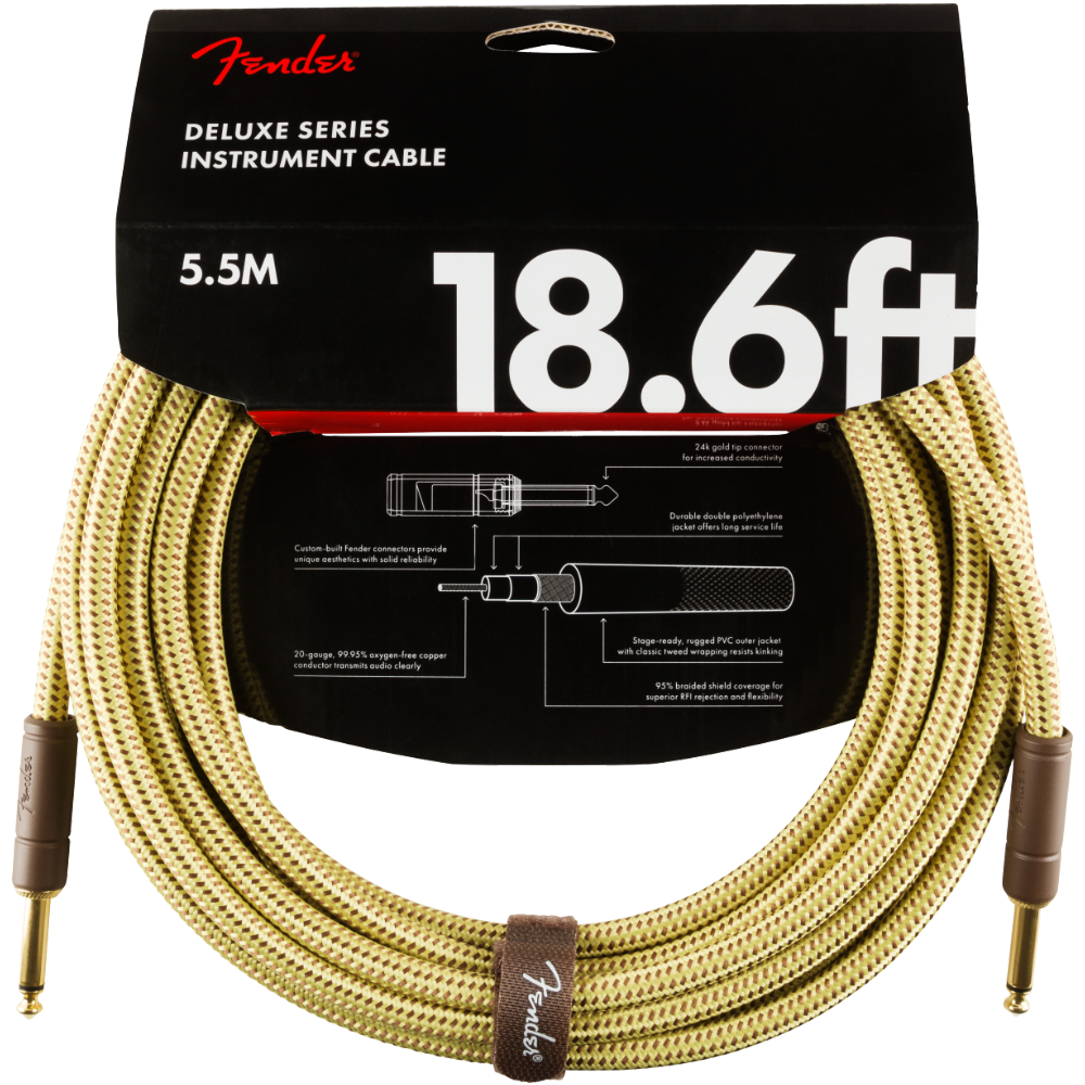 Fender Deluxe Series Instrument Cable - Straight/Straight - 18.6' Tweed