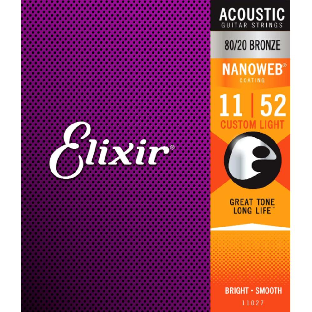 Elixir NANOWEB Coated 80/20 Bronze Acoustic Guitar Strings