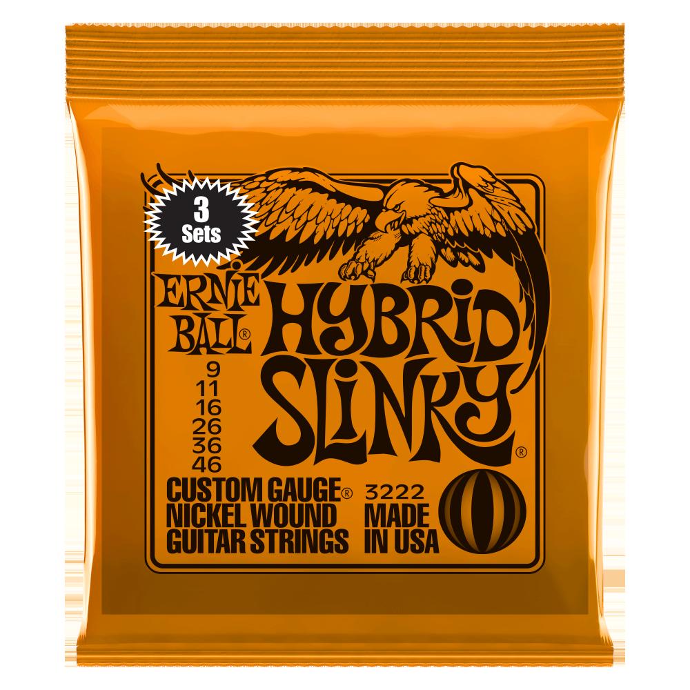 Ernie Ball Hybrid Slinky Nickel Wound Electric Guitar Strings 9-46 3-Pack